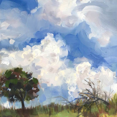 "Cloud Watching, 12"" x 12"", Oil on Panel by Gina Niebergall"
