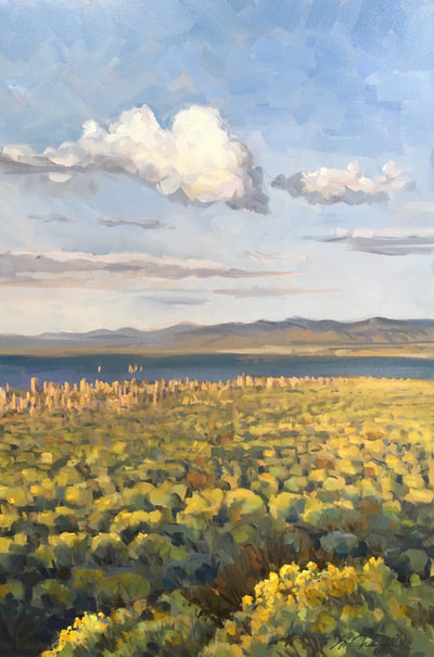 "Cumulo-Confabulation / Mono Lake, 36"" x 24"", Oil on Canvas by Gina Niebergall"