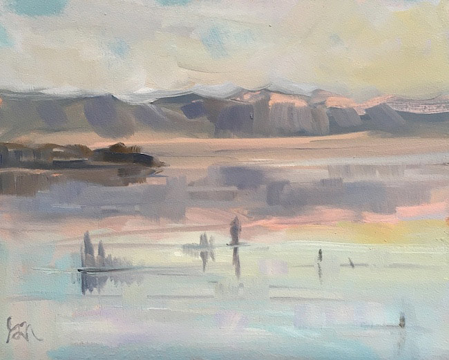 "Sunset Reflections / Mono Lake, 8"" x 10"" Oil on Panel, Plein Air by Gina Niebergall"