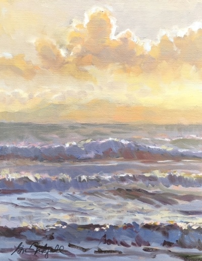 "Gina Niebergall, Late Afternoon/Surfer's Point, 14"" x 11"""