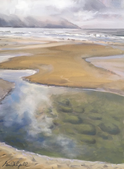 "Low Tide Morning / Faria Beach, 24""x 18"", Oil on Canvas by Gina Niebergall"